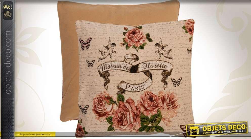 Housse de coussin en coton 40 x 40 style fleuri et rétro