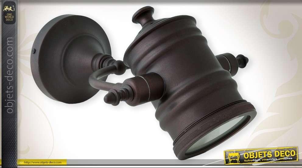 Applique style industriel forme de projecteur finition anthracite