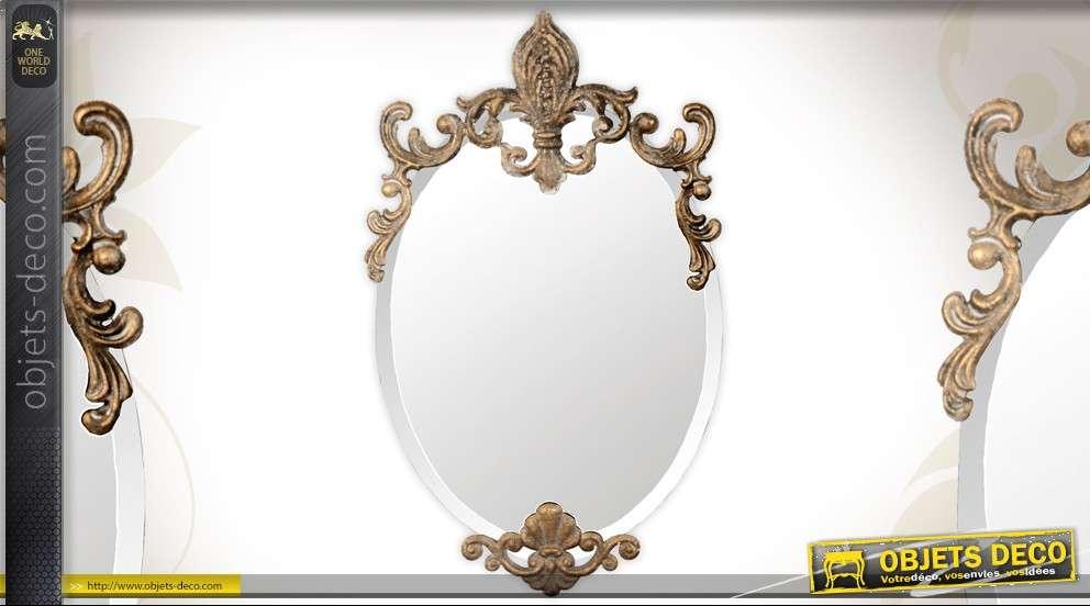 miroir ovale de style baroque ornements m tal dor antique. Black Bedroom Furniture Sets. Home Design Ideas
