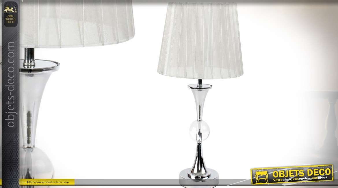 lampe de salon design avec pied en m tal chrom et abat jour pliss 47 cm. Black Bedroom Furniture Sets. Home Design Ideas