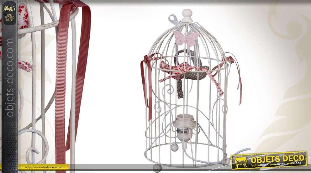 Lampe cage à oiseaux de style romantique coloris blanc