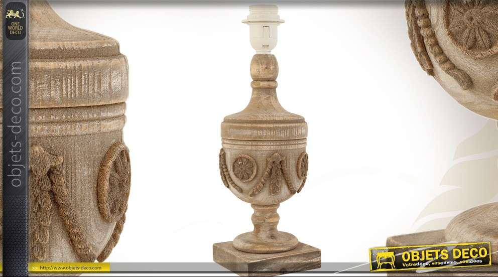 pied de lampe en bois sculpt en forme d 39 urne style ancien. Black Bedroom Furniture Sets. Home Design Ideas