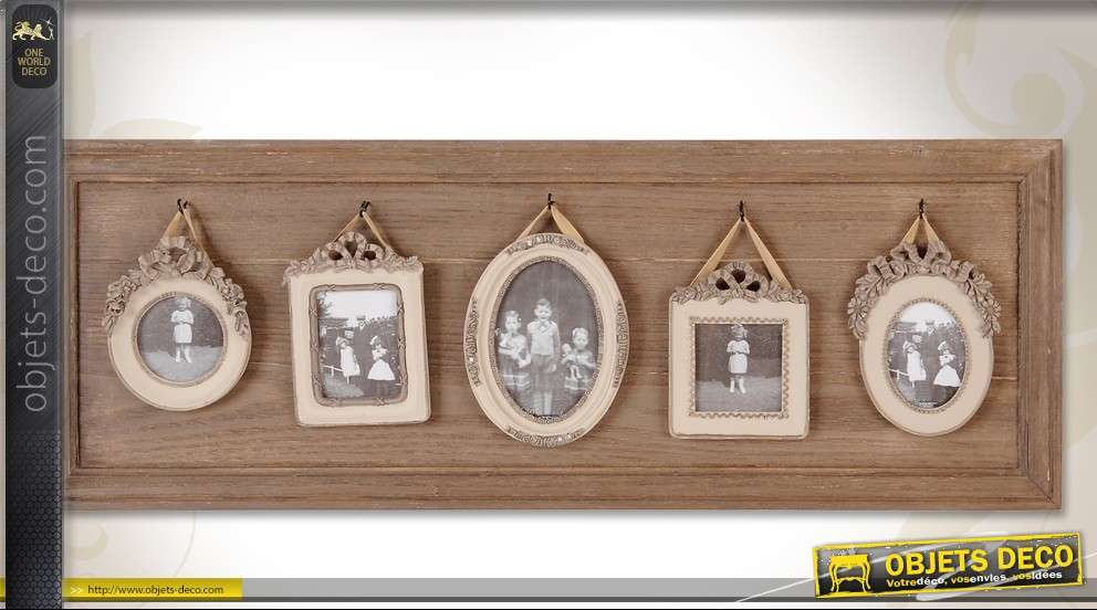 grand p le m le en bois avec 5 vues style r tro 75 cm. Black Bedroom Furniture Sets. Home Design Ideas