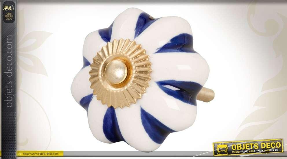 Bouton De Tiroir Ou Porte En Porcelaine Blanc Et Bleu Nuit