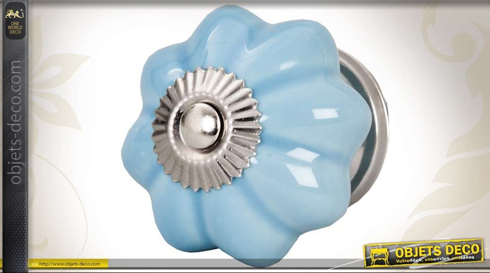 Bouton De Tiroir Ou Porte En Porcelaine Bleu Cerule