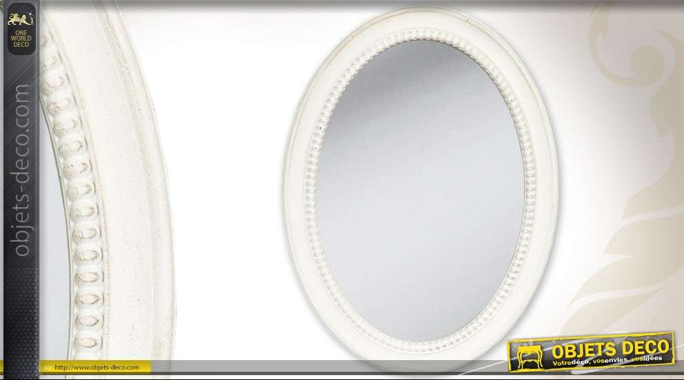 miroir ovale cosy style ancien blanc. Black Bedroom Furniture Sets. Home Design Ideas