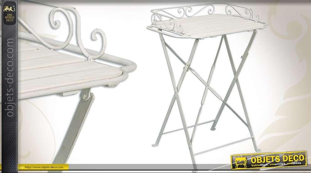 Table D Appoint Pliable En Bois Et Metal Laque Blanc