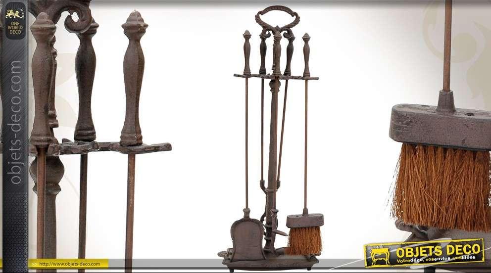 Kit serviteur de cheminée avec 4 accessoires style ancien
