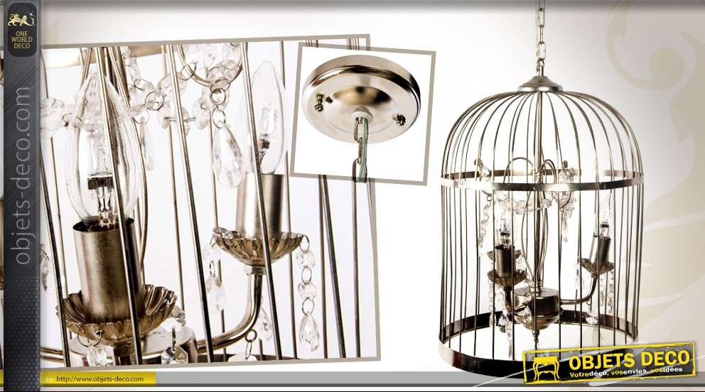 lustre cage oiseaux en m tal 4 points lumineux. Black Bedroom Furniture Sets. Home Design Ideas
