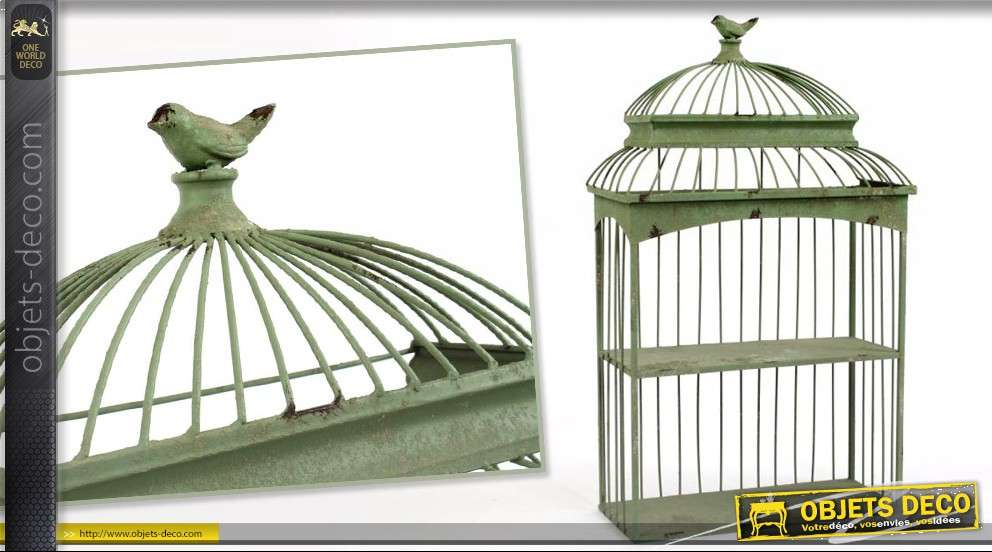 etag re cage oiseaux patine vert sauge l 39 ancienne 71 x 42 cm. Black Bedroom Furniture Sets. Home Design Ideas
