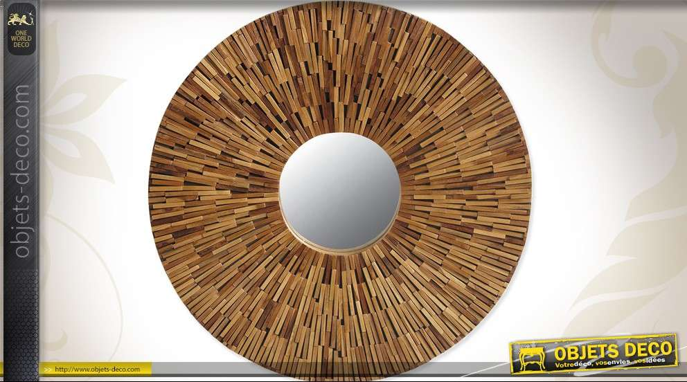 miroir rond rustique en bois sculpt 60 cm. Black Bedroom Furniture Sets. Home Design Ideas
