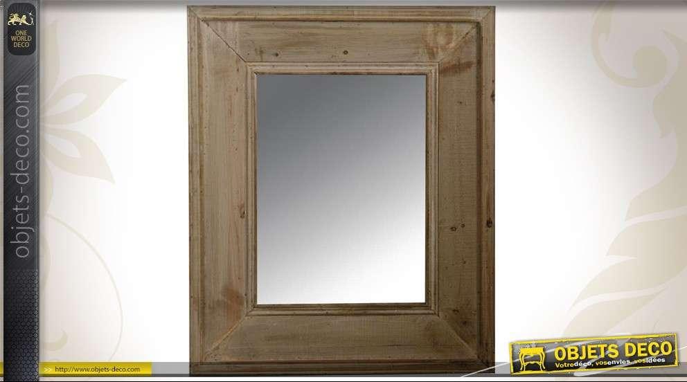 Grand miroir rustique massif acajou finition antiquaire 110 cm for Miroir blanc vieilli