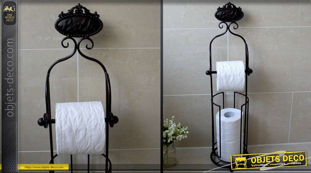 serviteur de papier toilette avec r serve coloris noir antique. Black Bedroom Furniture Sets. Home Design Ideas