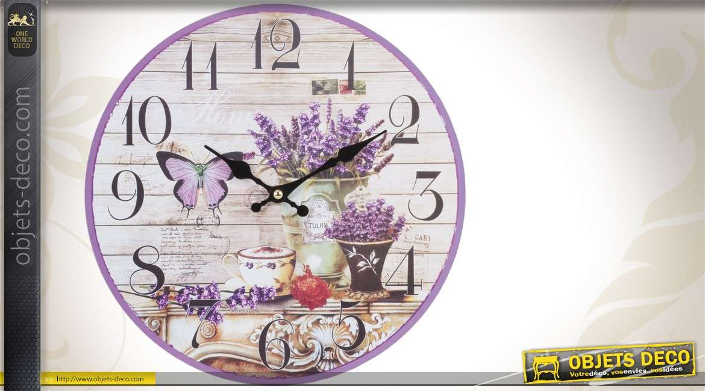 horloge murale d co 29 cm th me provence et lavande. Black Bedroom Furniture Sets. Home Design Ideas