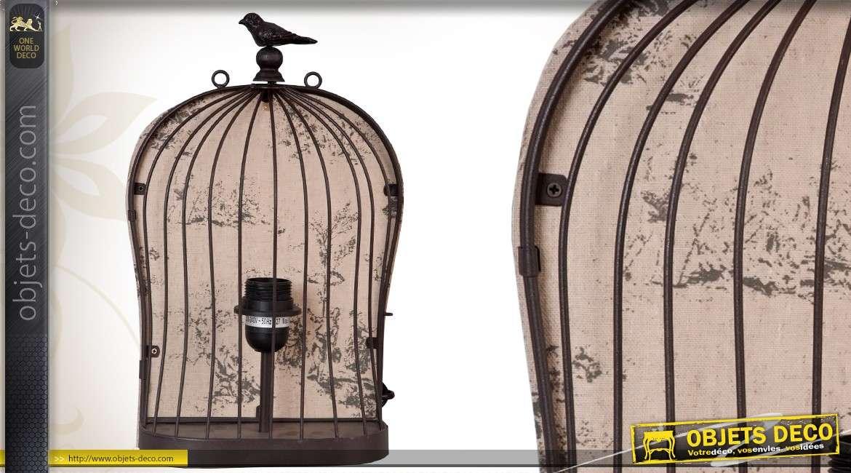 Lampe applique de style vintage en forme de cage à oiseaux