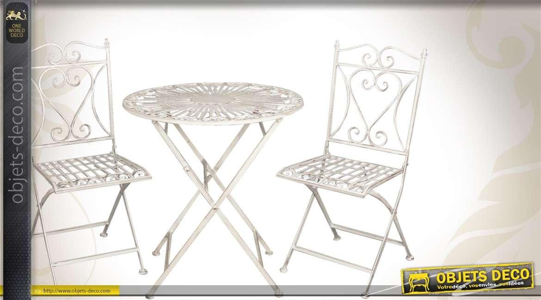Salon de jardin 3 pièces en métal blanc