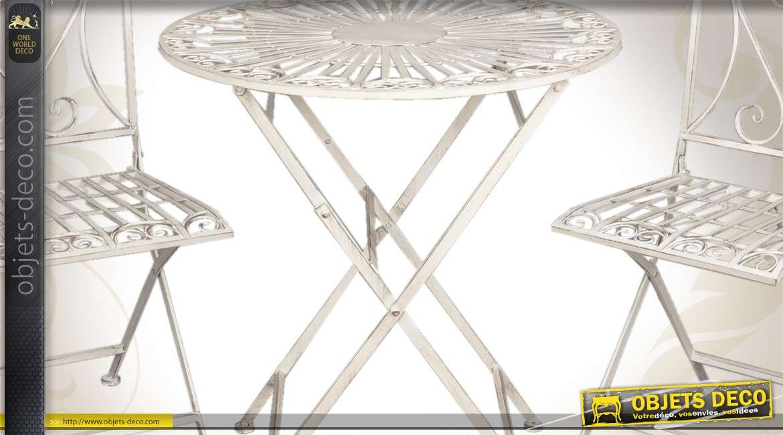 salon de jardin 1 table et 2 chaises en fer forg blanc antique. Black Bedroom Furniture Sets. Home Design Ideas