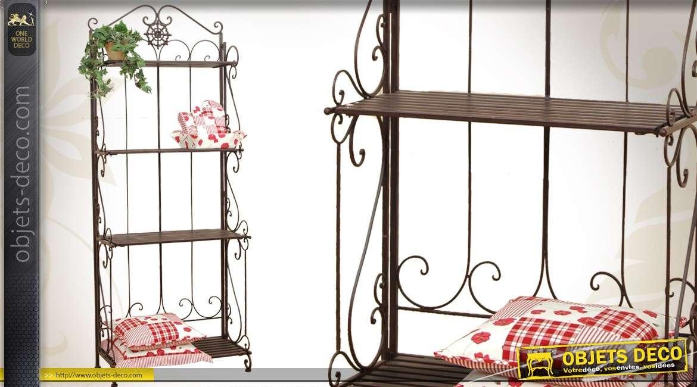 grande tag re en m tal et fer forg coloris brun antique 186 cm. Black Bedroom Furniture Sets. Home Design Ideas