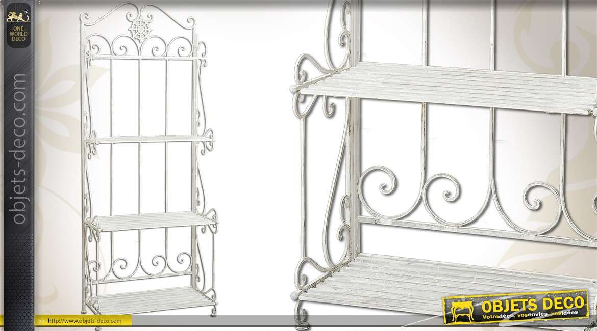 Etag re murale en m tal style fer forg couleur blanc antique for Etagere murale en fer forge
