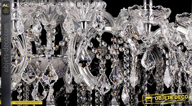 Grand lustre 18 feux cristal verre et chrome Ø 120 cm