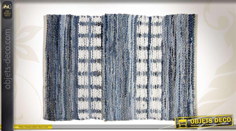 Tapis rectangulaire en toile de jean et coton