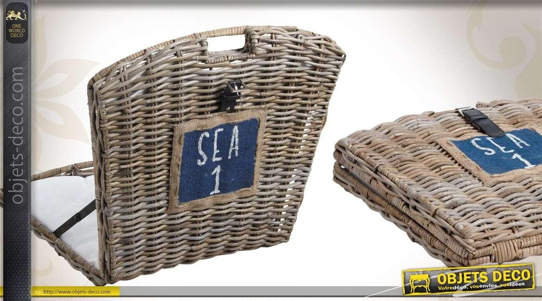 Chaise de plage en poelet avec coussin