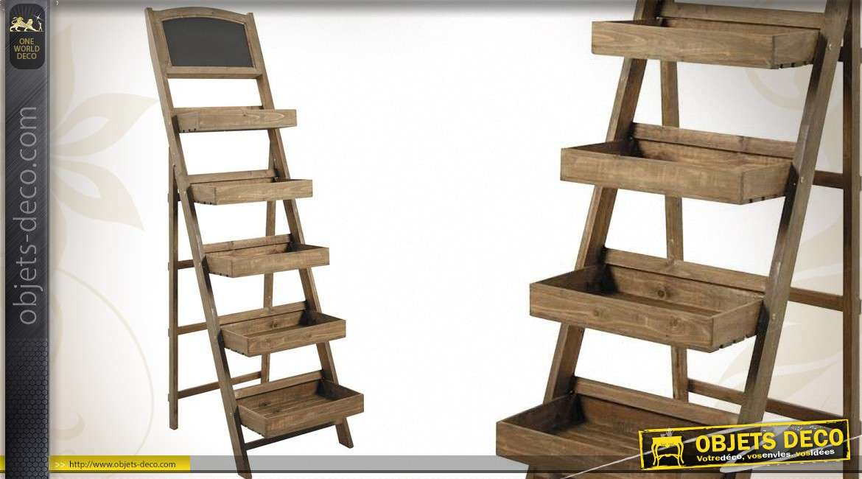 grande tag re en escalier avec 5 bacs et un tableau noir. Black Bedroom Furniture Sets. Home Design Ideas