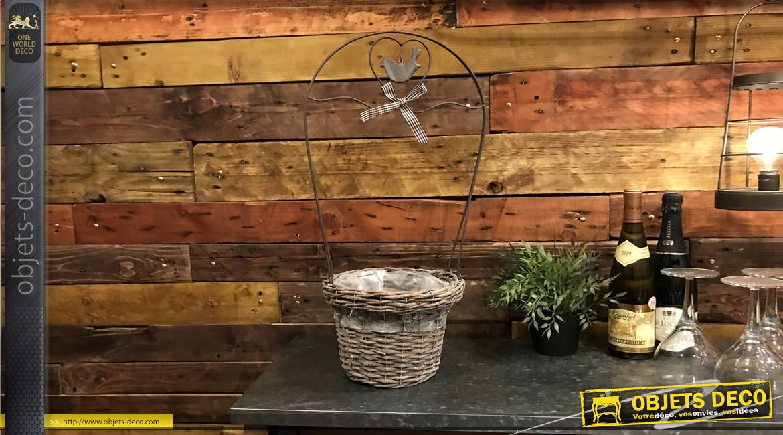 Jardinière de style romantique en osier et métal avec petit oiseau et ruban suspendus, 62cm