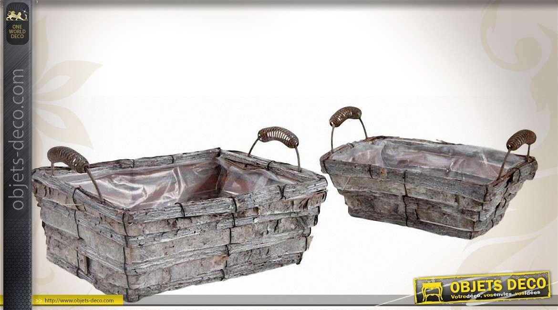 Lot de deux corbeilles rectangulaires en bois teinté et métal