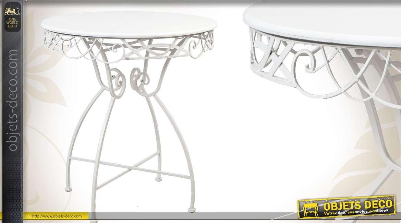 Table ronde de jardin en métal et fer forgé coloris blanc antique