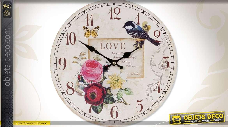 horloge murale d coration motifs fleurs et oiseaux 29 cm. Black Bedroom Furniture Sets. Home Design Ideas