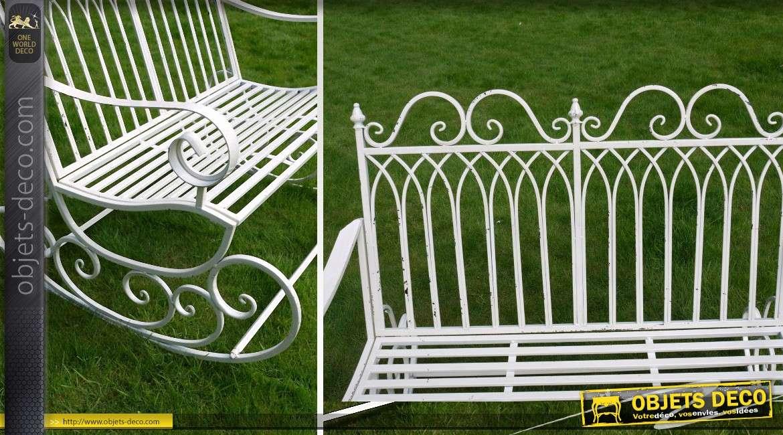 Banc de jardin en fer forgé style rétro coloris blanc antique
