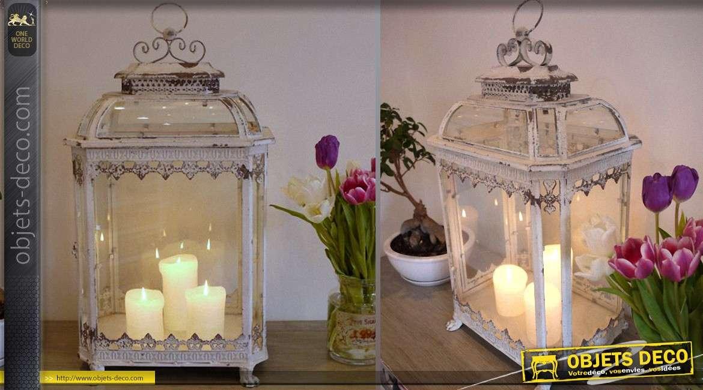 grande lanterne en m tal et verre de style r tro 70 cm. Black Bedroom Furniture Sets. Home Design Ideas