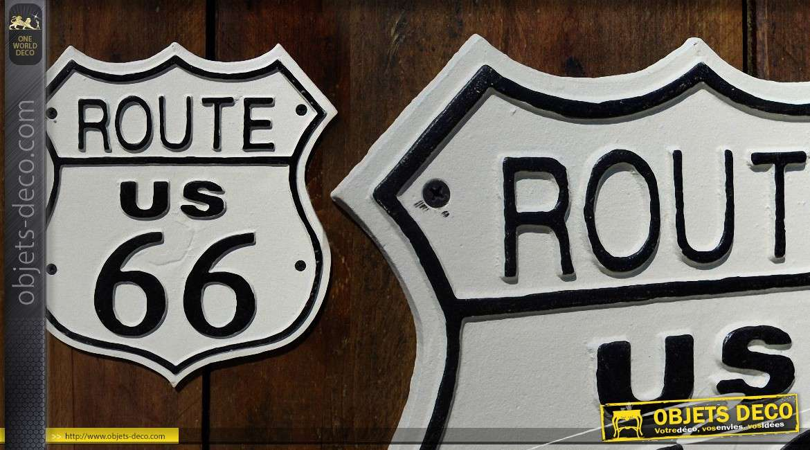 plaque d co mural en m tal route 66 us. Black Bedroom Furniture Sets. Home Design Ideas