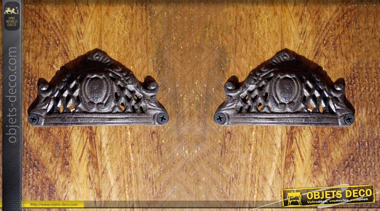 Poign e de porte en fer forg de style baroque et r tro for Poignee de porte en fer forge