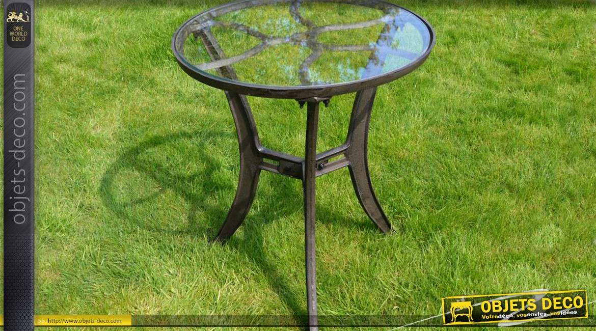 Table ronde style industriel fer forg plateau verre 62 cm - Table ronde style industriel ...