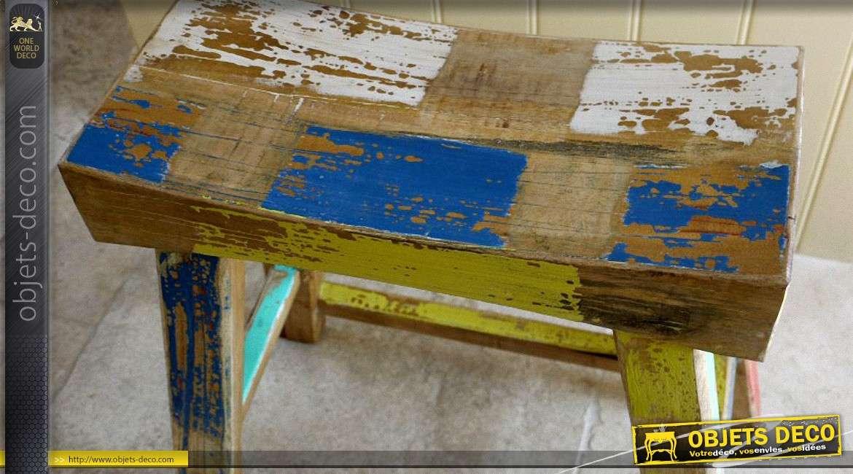 tabouret mini banc en bois massif multicolore style r cup 39. Black Bedroom Furniture Sets. Home Design Ideas