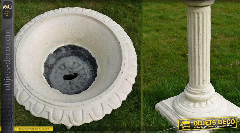 Grande vasque en fonte sur piédestal en colonne blanc antique