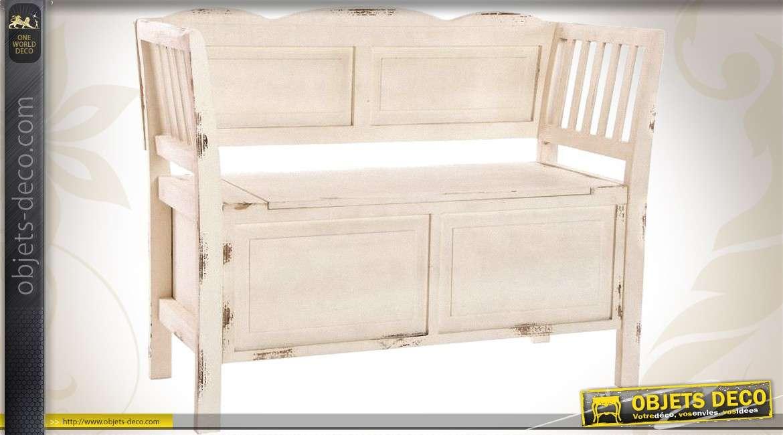 banc en bois coloris cr me avec coffre sous assise. Black Bedroom Furniture Sets. Home Design Ideas
