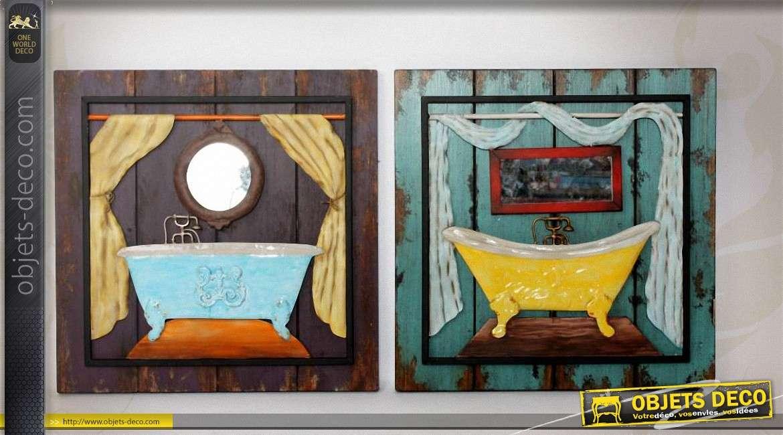 Set de 2 décoration murales Salles de bains de style vintage
