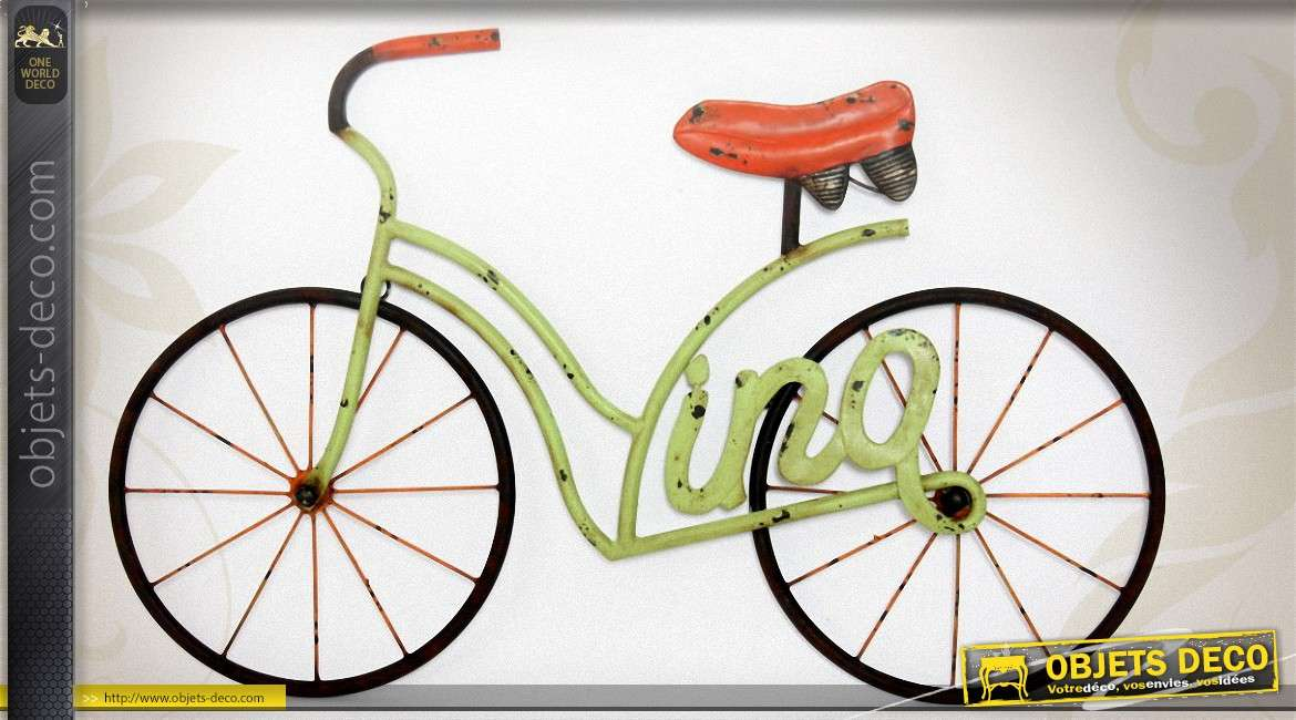 Grande d coration murale en m tal bicyclette r tro 81 cm for Decoration murale velo