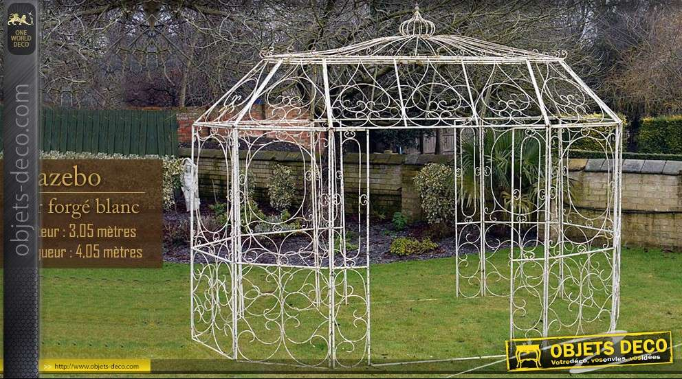 kiosque de jardin en fer forge tonnelle pergola gloriette en fer forg blanc abris d licieux. Black Bedroom Furniture Sets. Home Design Ideas