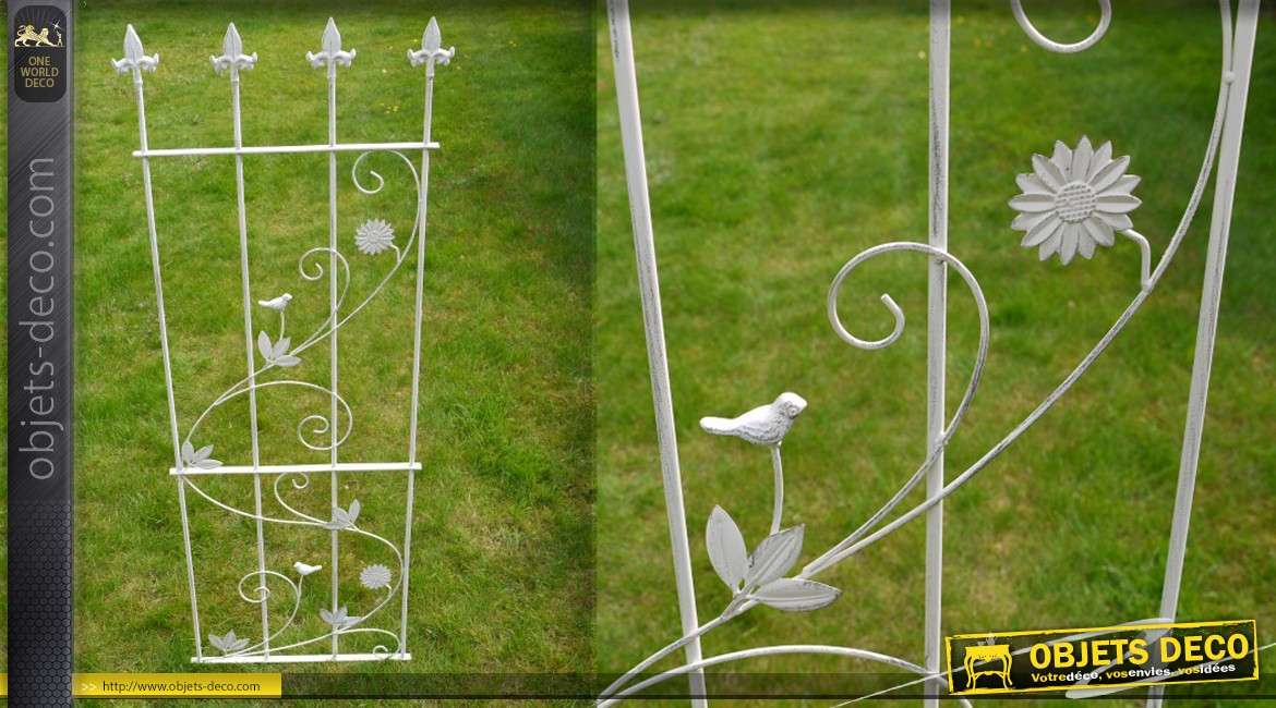 Haute barri re d corative de jardin en fer forg blanc antique for Deco jardin en fer