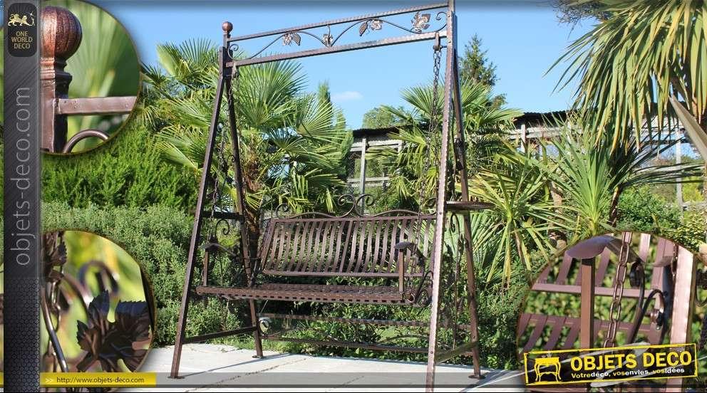 balancelle de jardin en fer forg patine marron. Black Bedroom Furniture Sets. Home Design Ideas