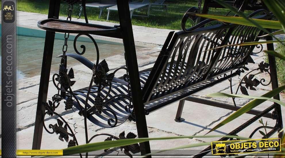 Balancelle de jardin en fer forg patine marron for Objet deco jardin fer forge