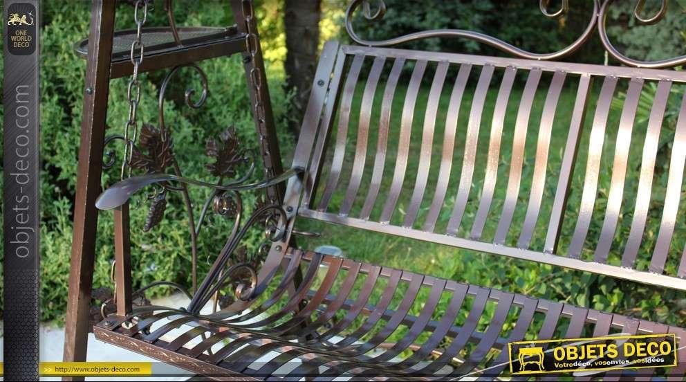 Balancelle de jardin en fer forg patine marron for Objet en fer forge pour le jardin