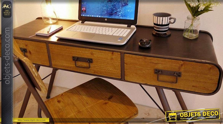 bureau de style indus et r tro ann e 70 en bois et m tal. Black Bedroom Furniture Sets. Home Design Ideas