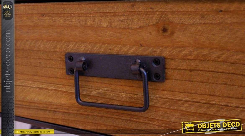 Bureau de style indus et rétro année 70 en bois et métal