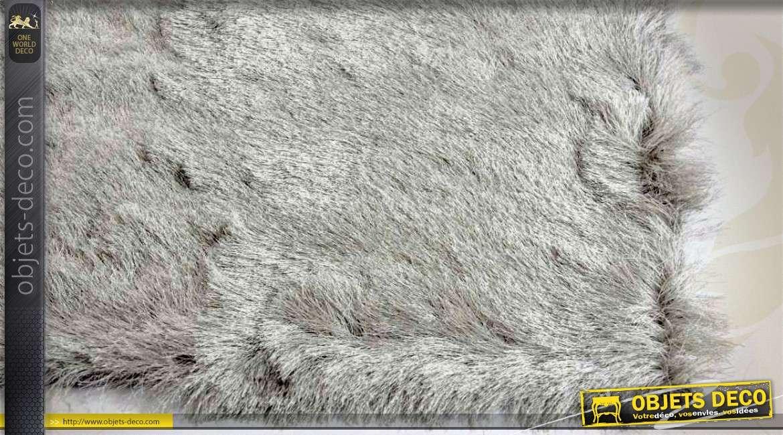 tapis en polyester imitation fourrure grise 180 x 120 cm. Black Bedroom Furniture Sets. Home Design Ideas