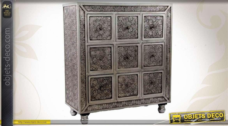commode bois et zinc de style marocain 9 tiroirs. Black Bedroom Furniture Sets. Home Design Ideas